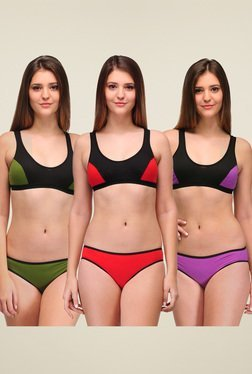 Urbaano Green, Red & Purple Cotton Lingerie Set (Pack Of 3)