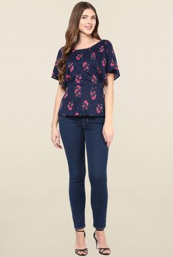 Magnetic Designs Navy Floral Print Top