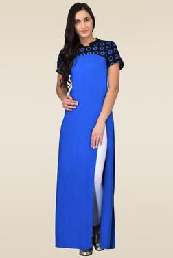 Juniper Blue & Black Embroidered Maxi Dress