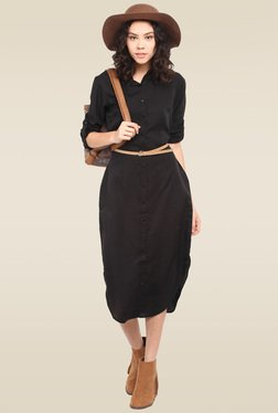 Lucero Black Regular Fit Shirt Dress