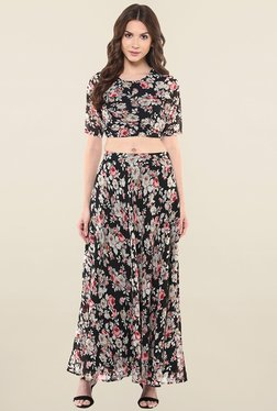 Magnetic Designs Black Floral Print Skirt Maxi Dress
