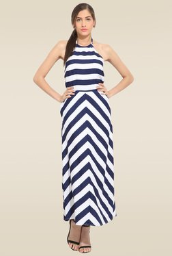 Lucero Blue And White Striped Maxi Dress