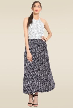 Lucero Black And White Abstract Maxi Dress