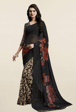 Janasya Black & Beige Printed Georgette Saree