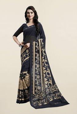 Janasya Black & Beige Printed Georgette Saree - Mp000000001002815