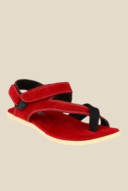 Afrojack Red Back Strap Sandals