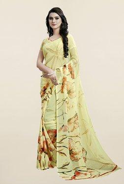 Janasya Yellow Floral Print Chiffon Saree