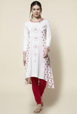 Zudio Off White Printed Slim Fit Kurta