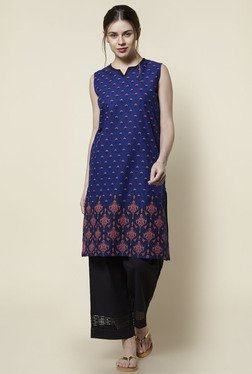 Zudio Blue Floral Print Sleeveless Kurta