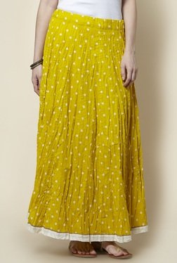 Zudio Yellow Pure Cotton Long Skirt