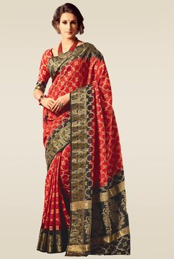 Ishin Red & Black Woven Saree With Blouse