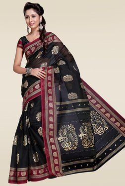 Ishin Black Woven Zari Saree With Blouse