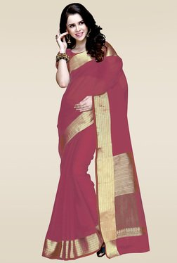 Ishin Pink Zari Border Saree With Blouse
