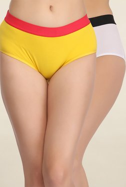 Clovia Yellow & Off White Solid Hipster Panties (Pack Of 2)
