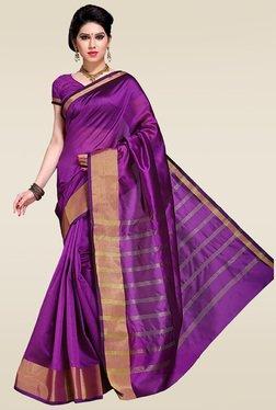 Ishin Purple Woven Zari Saree With Blouse