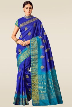 Ishin Blue Woven Solid Saree With Blouse