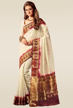Ishin White Woven Saree With Blouse