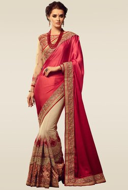 Ishin Pink & Beige Embroidered Saree With Brocade Blouse