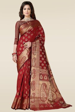 Ishin Red Woven Printed Saree With Blouse