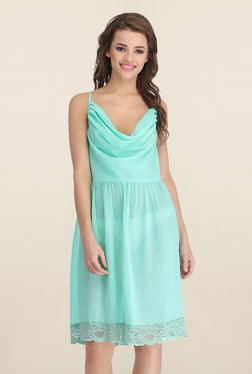 Clovia Sea Green Solid Chemise