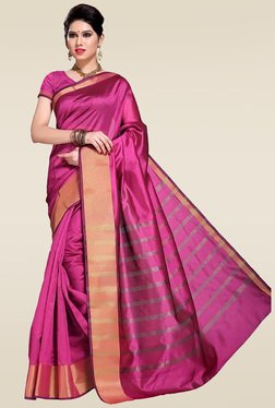 Ishin Pink Zari Striped Saree With Blouse