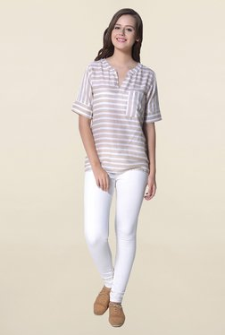 Hitch-Ki Beige & White Striped Top