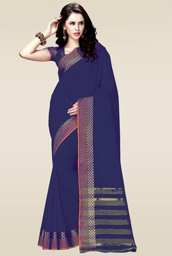 Ishin Blue Woven Zari Border Saree With Blouse