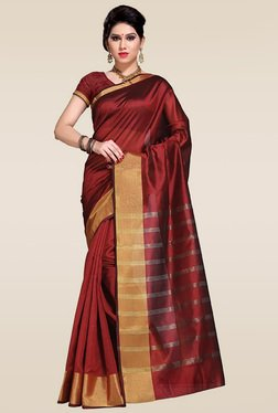 Ishin Red Woven Zari Saree With Blouse