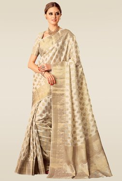 Ishin Off White Woven Saree With Blouse