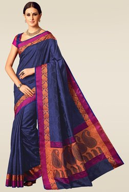Ishin Indigo Blue Woven Saree With Blouse