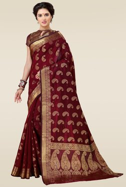 Ishin Maroon Woven Printed Saree With Blouse