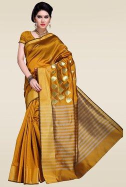 Ishin Yellow Woven Zari Saree With Blouse