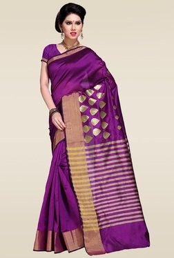 Ishin Purple Woven Saree With Blouse - Mp000000001013860