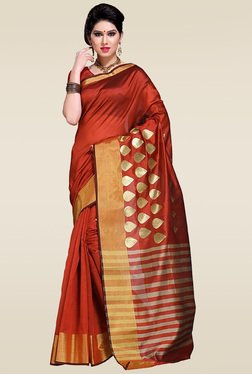 Ishin Orange Woven Zari Saree With Blouse