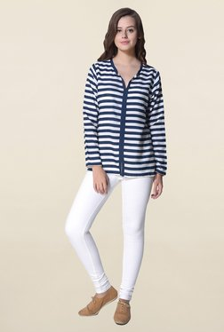 Hitch-Ki Navy & White Striped Top