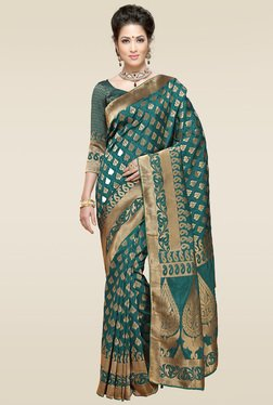 Ishin Green Woven Saree With Blouse