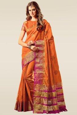 Ishin Orange Woven Saree With Blouse