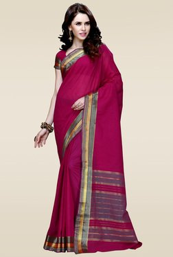 Ishin Dark Pink Zari Border Saree With Blouse