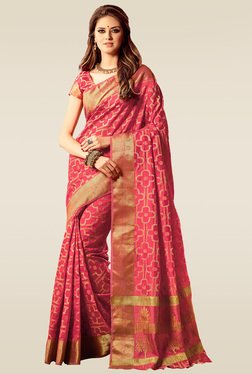 Ishin Pink Woven Printed Saree With Blouse