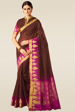 Ishin Brown & Pink Woven Saree With Blouse