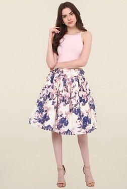 Hitch-Ki Cream Printed Skirt