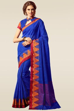 Ishin Blue Solid Woven Saree With Blouse