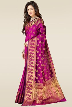 Ishin Purple Woven Printed Saree With Blouse