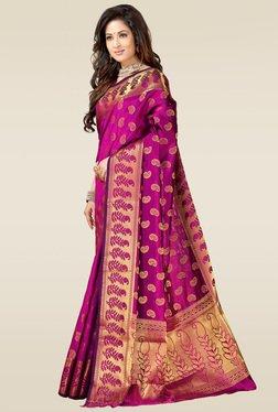Ishin Purple Woven Printed Saree With Blouse