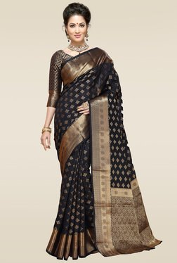 Ishin Black Woven Printed Saree With Blouse
