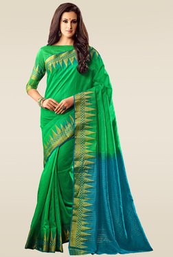 Ishin Green Woven Solid Saree With Blouse