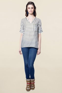 Hitch-Ki Olive & White Striped Top