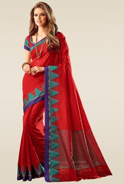 Ishin Red Woven Saree With Blouse