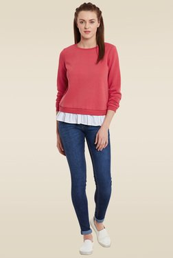 Femella Red Round Neck Sweatshirt