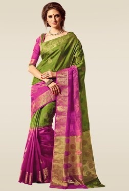 Ishin Green & Pink Woven Saree With Blouse